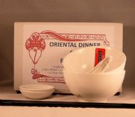 Vitrified Porcelain Chinese White Dinner Set for TWO - Rice & Dip Bowls Spoons Black Melamine Chopsticks.